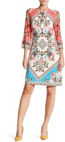Sandra Darren Printed Split Neck Shift Dress