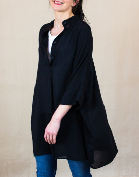 Lollys Laundry - Lea Oversized Tunic Shirt - L . | black - Black/White/White
