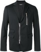 DSQUARED2 zipped blazer - men - Cotton/Calf Leather/Polyester/Wool - 46
