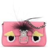 Fendi 'Monster' Genuine Rabbit Fur & Genuine Fox Fur Micro Baguette - Pink