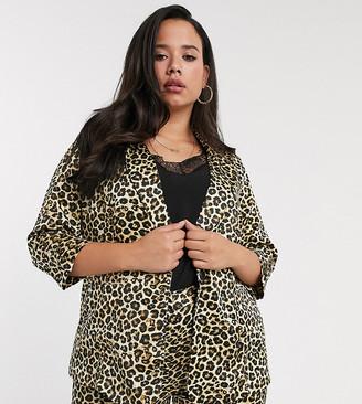 Simply Be co-ord blazer in leopard satin-Multi