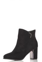 Quiz Black Faux Suede Silver Trim Ankle Boots