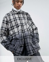 Reclaimed Vintage Inspired Oversized Shirt In Black Checked Flannel Dip Dye