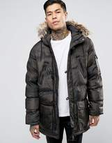 Brave Soul Padded Camo Parka With Faux Fur Hood