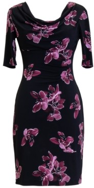 Connected Petite Floral 3/4-Sleeve Sheath Dress