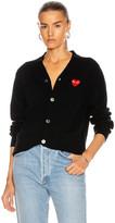 Comme des Garcons Wool Red Heart Emblem Cardigan in Black | FWRD