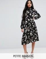 New Look Petite Floral Long Sleeve Midi Dress