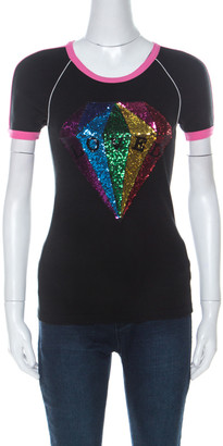 Gucci Black Cotton Sequinned Diamond Loved T Shirt XS