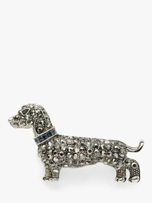 One Button Crystal Dachshund Dog Brooch, Grey