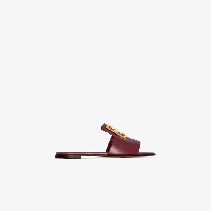 Givenchy burgundy 4G leather sandals