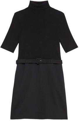 Theory Rib-Knit Wool-Blend Combo Dress