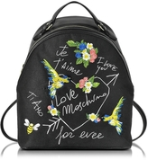 Love Moschino Black Canvas and Black Eco Leather Backpack w/Embroidery I Love You