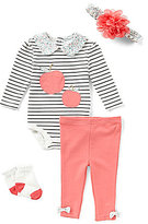 Starting Out Baby Girls Newborn-9 Months Striped Apple 4-Piece Layette Set