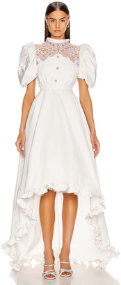 Alessandra Rich High Neck Dress With Statement Sleeves in White | FWRD