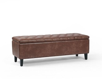 Pottery Barn Jay Tufted Leather Storage Bench
