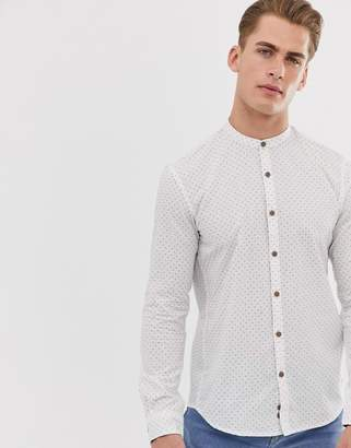 Tom Tailor grandad collar shirt with ditsy print in white