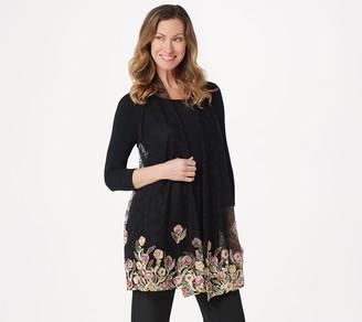 GRAVER Susan Graver Embroidered Lace Open Front Vest