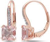 FINE JEWELRY Cushion-Cut Genuine Morganite and Diamond-Accent 10K Rose Gold Earrings