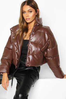boohoo Faux Leather Puffer