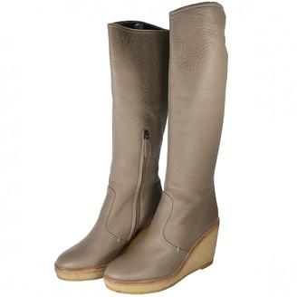 Jil Sander Grey Leather Boots