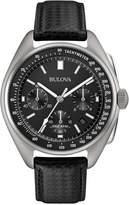 Bulova Men's Special Edition Moon Chronograph Black Leather Strap Watch & Nylon Strap 45mm 96B251