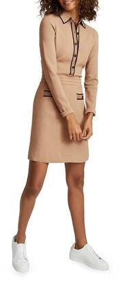 Reiss Metallic Detail Long Sleeve Sweater Dress