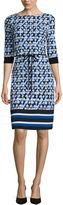 Liz Claiborne 3/4-Sleeve Geo Stripe Border Shift Dress