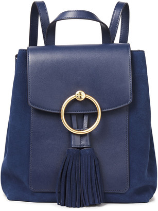 Tory Burch Tasseled Suede And Leather Backpack