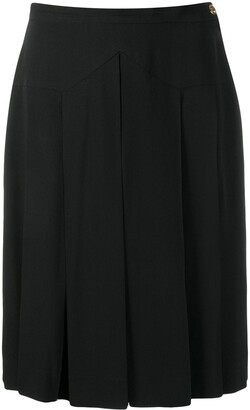 Chanel Pre Owned 1990's Silk Box Pleat Knee-Length Skirt