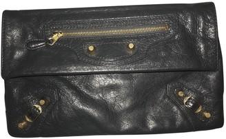 Balenciaga Classic Metalic Grey Leather Clutch bags