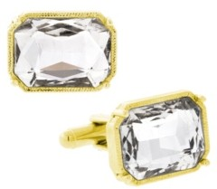 1928 Jewelry 14K Gold Plated Rectangle Crystal Cufflinks