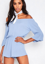 Missy Empire Lilika Blue Off The Shoulder 3/4 Sleeve Playsuit
