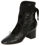 Valentino Ballet Crackled Leather Lace-Up Bootie, Nero