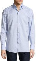 Eton Cotton-Linen Wrinkle-Resistant Sport Shirt, Light Blue