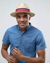Asos Straw Fedora Hat With Stripe Band