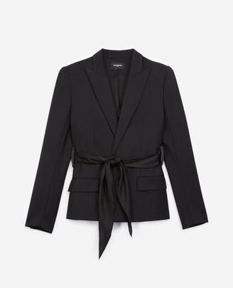 The Kooples Black wool jacket with waist tie