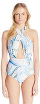Mara Hoffman Women's Aloe Cross Front Halter One Piece Swimsuit