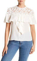 Rebecca Taylor Short Sleeve Lace Yoke Blouse