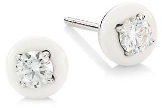 Etho Maria Diamonds In 18K White Gold, Diamond & White Ceramic Stud Earrings