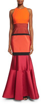 J. Mendel Sleeveless Colorblock Mermaid Gown, Fire/Fuchsia/Noir