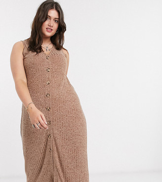 Only Curve ribbed casual midi dress with button through in brown