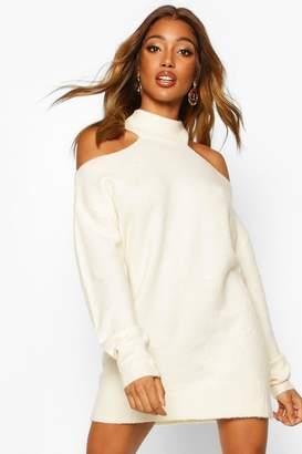 boohoo Cut Out Shoulder Knitted Jumper Dress