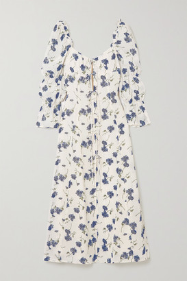 Reformation Roberta Tie-detailed Floral-print Georgette Midi Dress - Cream
