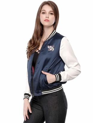 Allegra K Women's Jackets Zip up Lightweight Baseball Bomber Jacket Blue XS UK 4