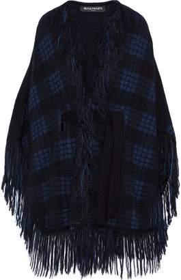 Balmain Fringed Checked Jacquard-knit Wrap
