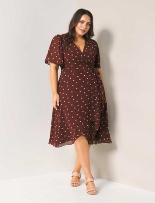 Forever New Erin Curve Flutter Wrap Midi Dress - Chocolate Spot - 18