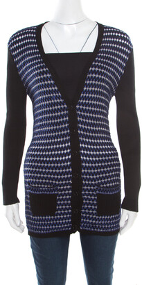 M Missoni Black Contrast Crochet Front Panel Ribbed Cardigan M