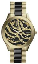 Michael Kors Slim Runway MK3315 Gold-Plated Stainless Steel With Zebra-Pattern Crystal Pave Dial Womens Watch