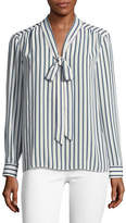 Vince Camuto Striped Tie-Neck Blouse