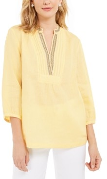 Charter Club Linen Beaded Split-Neck Top, Created for Macy's